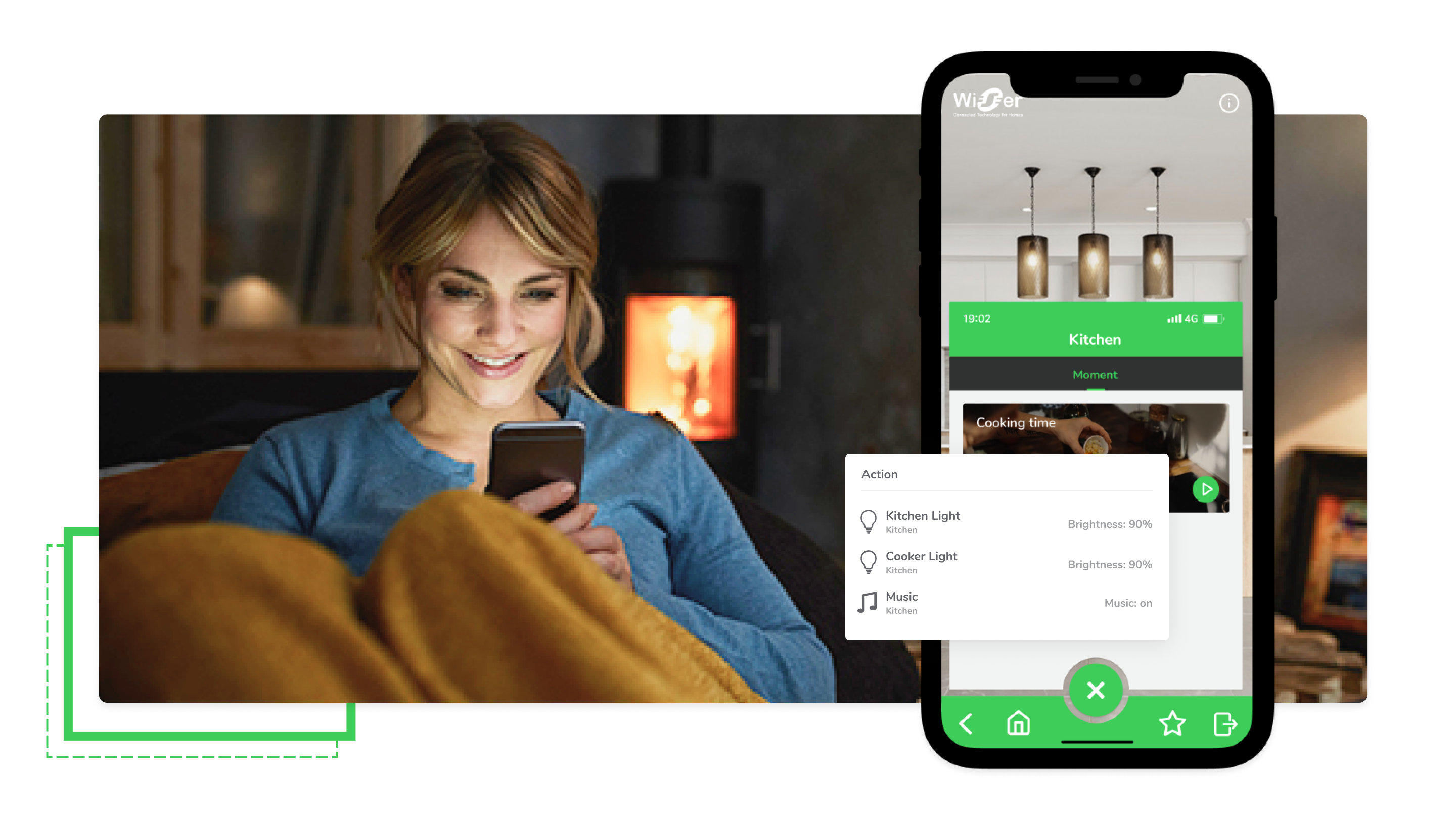 Girl on couch using Smart Home app