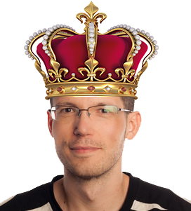 Michal Kadak wearing a crown