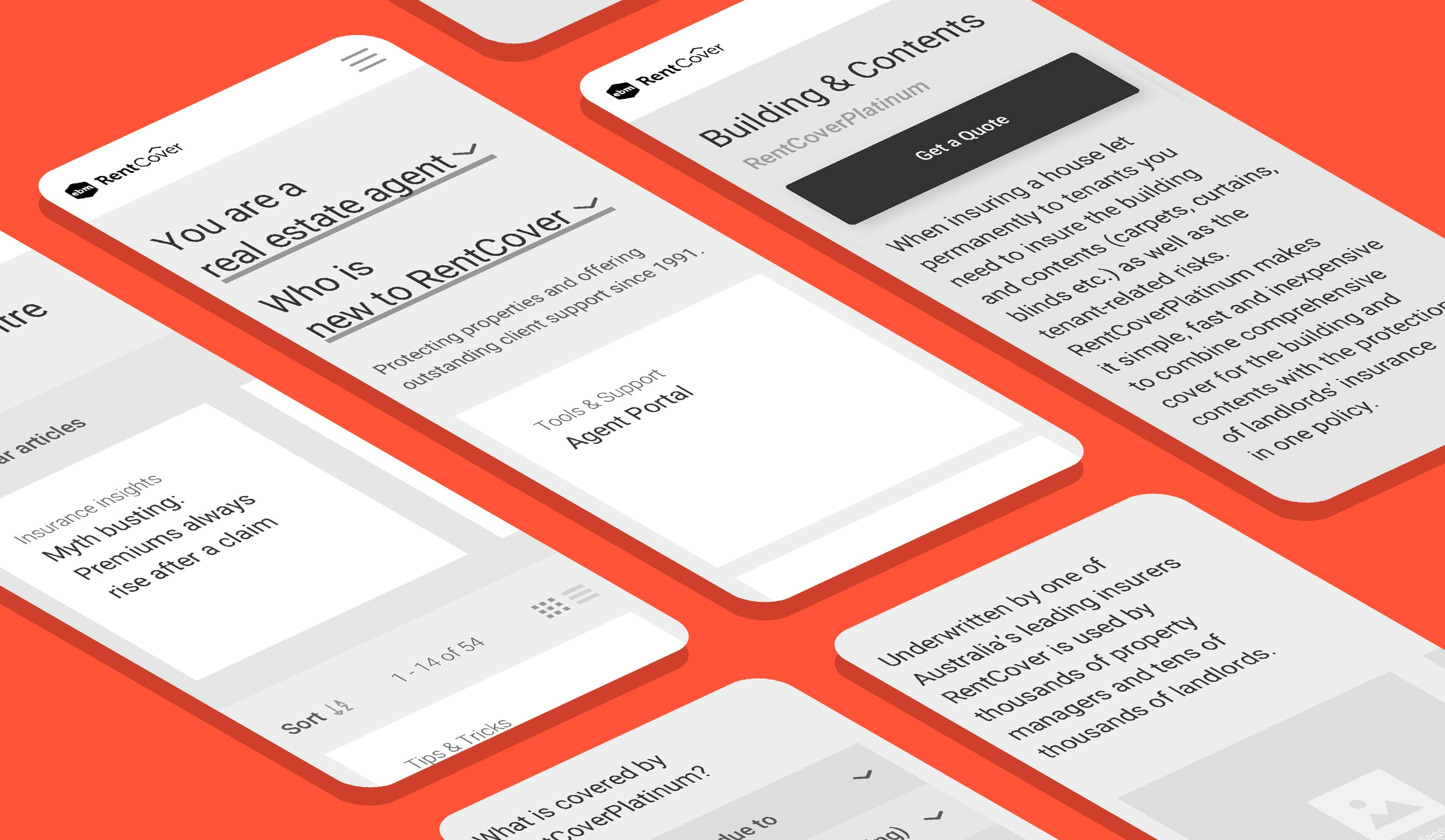 RentCover wireframes