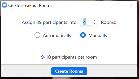 Screen shot on how to create Breakout Rooms