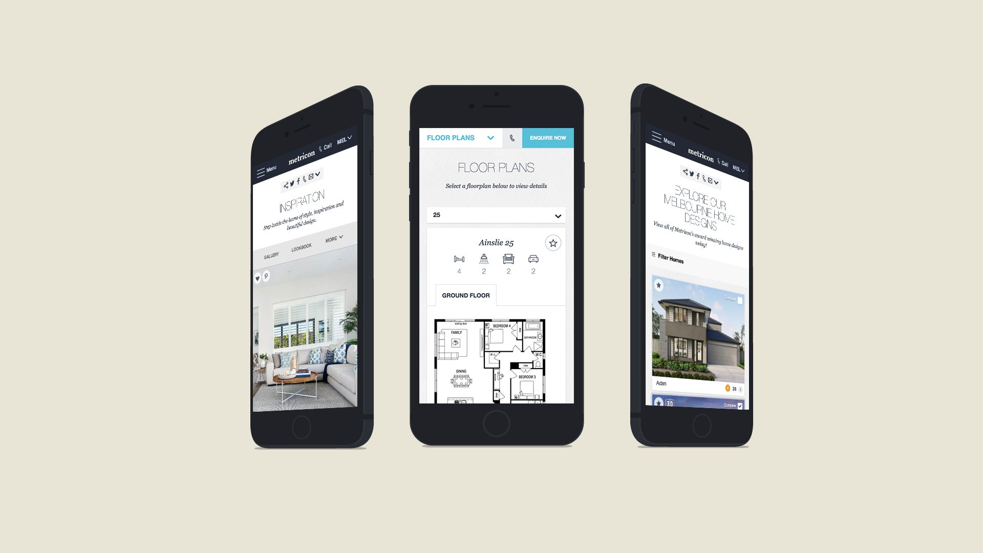 Metricon website on a mobile device