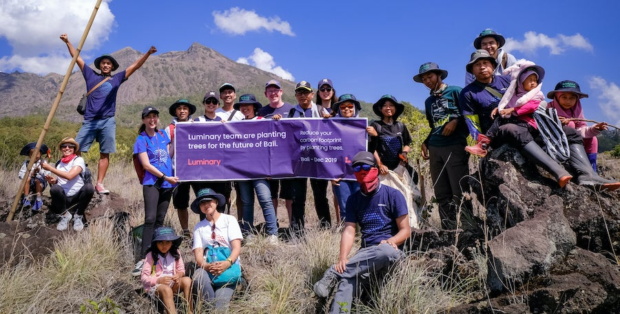 Luminary's Bali team participating in the Mt Batur Reforestation Festival, 2019.