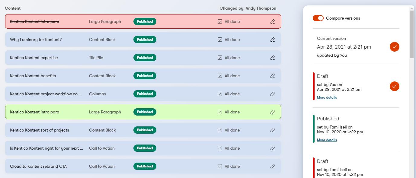Kentico Kontent version comparison interface