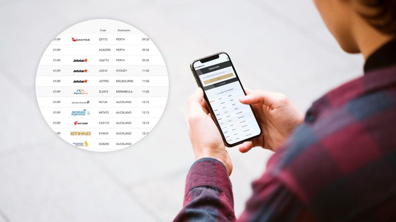 Flight information on mobile phone