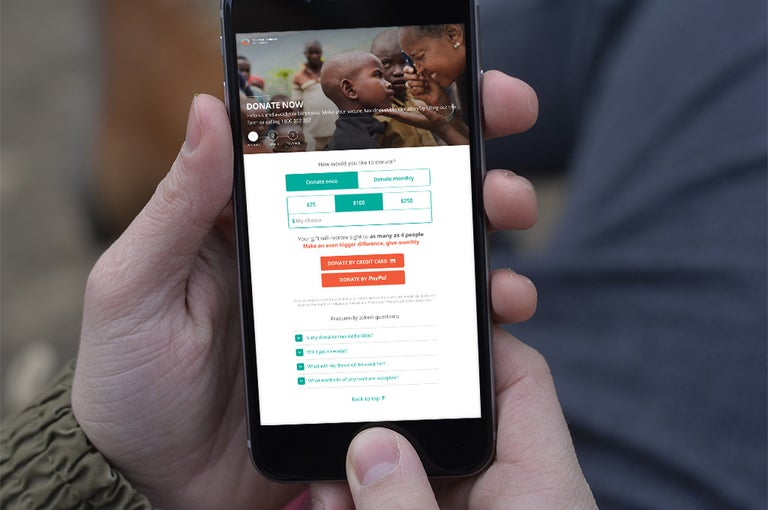 Image showing Fred Hollows Foundation website on a mobile phone