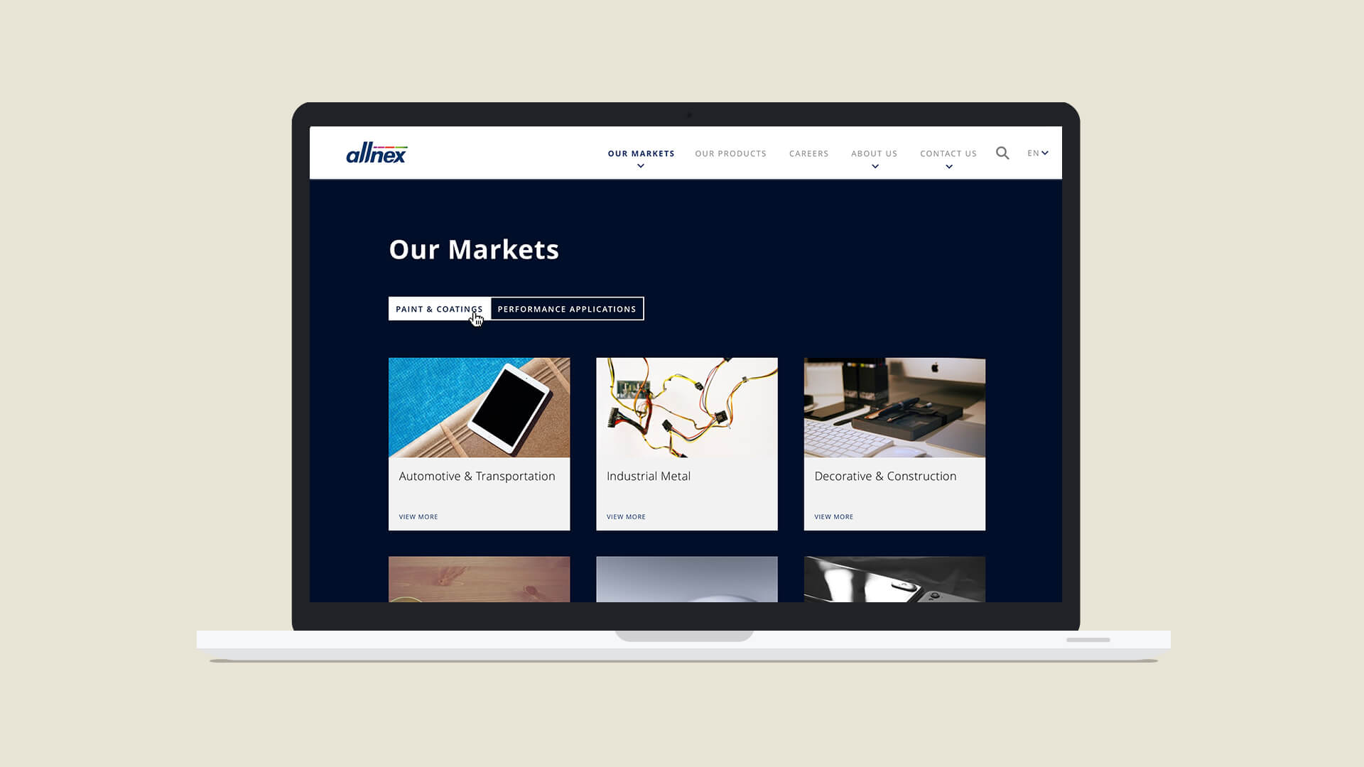 Allnex website - Our Markets page
