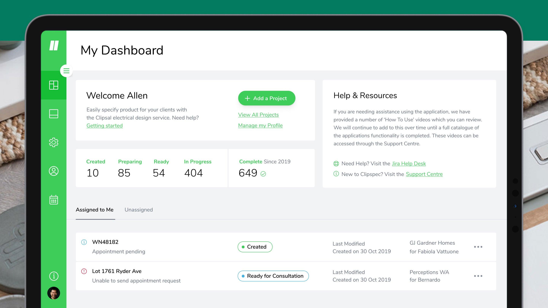 Clipspec dashboard