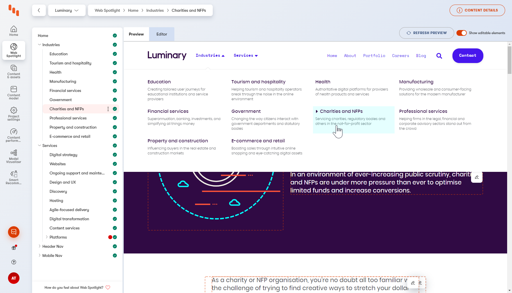 Luminary's website navigation is set up in Web Spotlight independent of the page and URL structure
