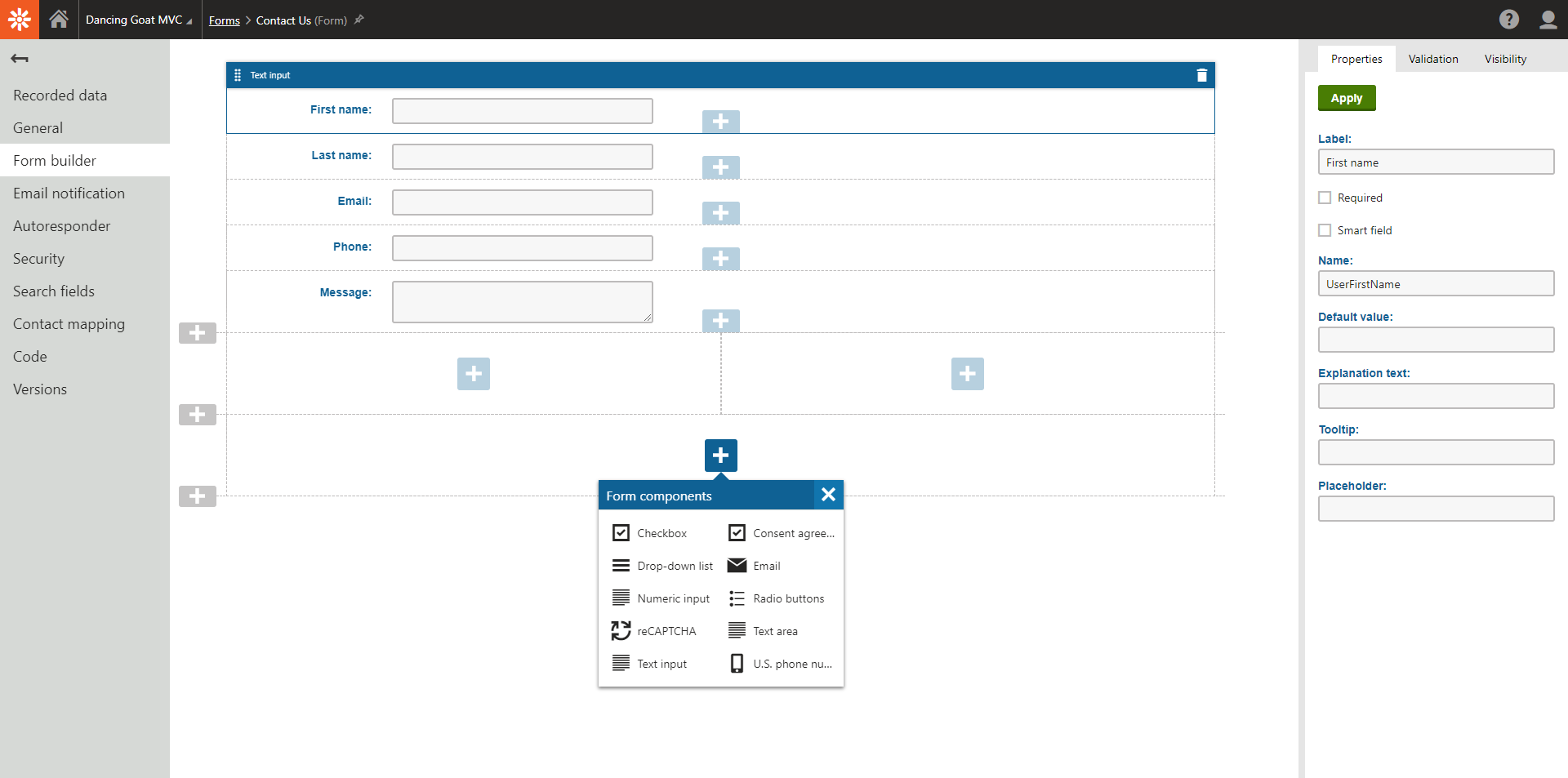Kentico 12 MVC Form Builder