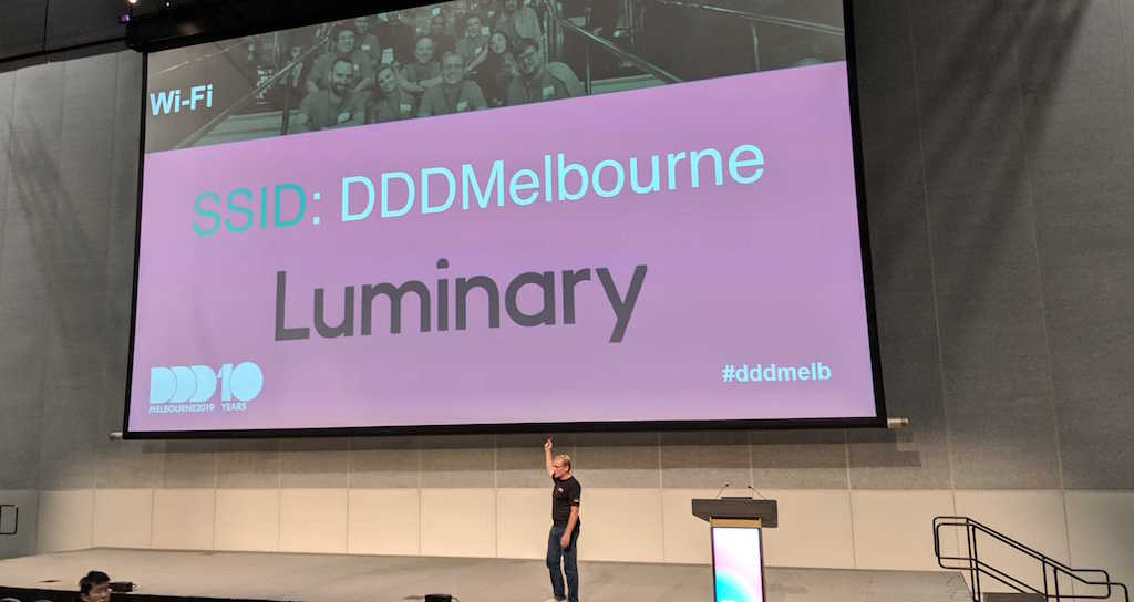 The stage at DDD Melbourne with Luminary logo on the screen