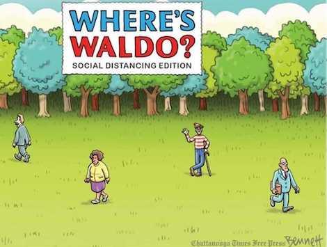 Where's Waldo - social distancing edition - cartoon