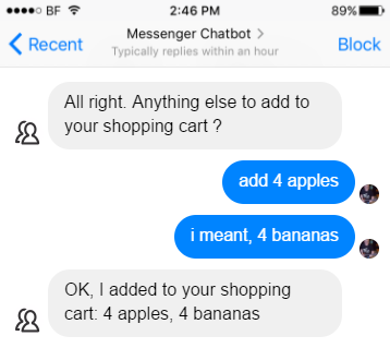 Screenshot of chatbot misconstruing instructions to replace four apples with four bananas as 'add four bananas to the four apples'
