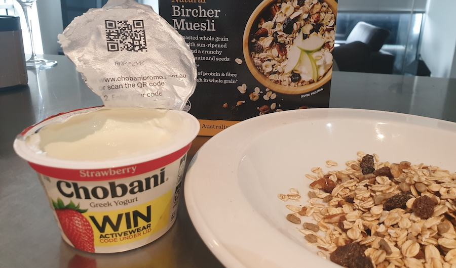 Chobani's latest campaign includes a QR Code to enter the competition to win Active Wear.