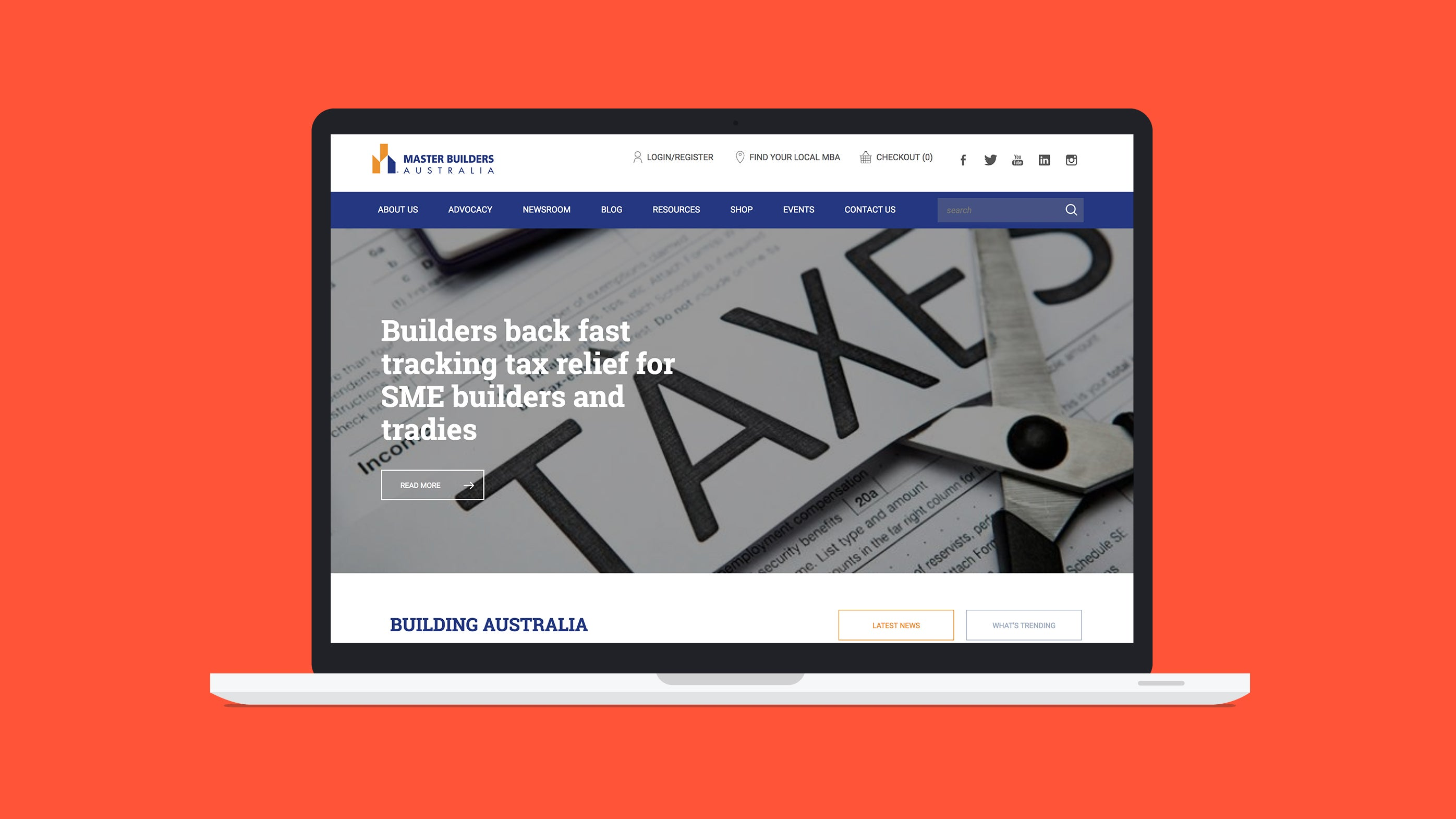 Master Builders website on a laptop device