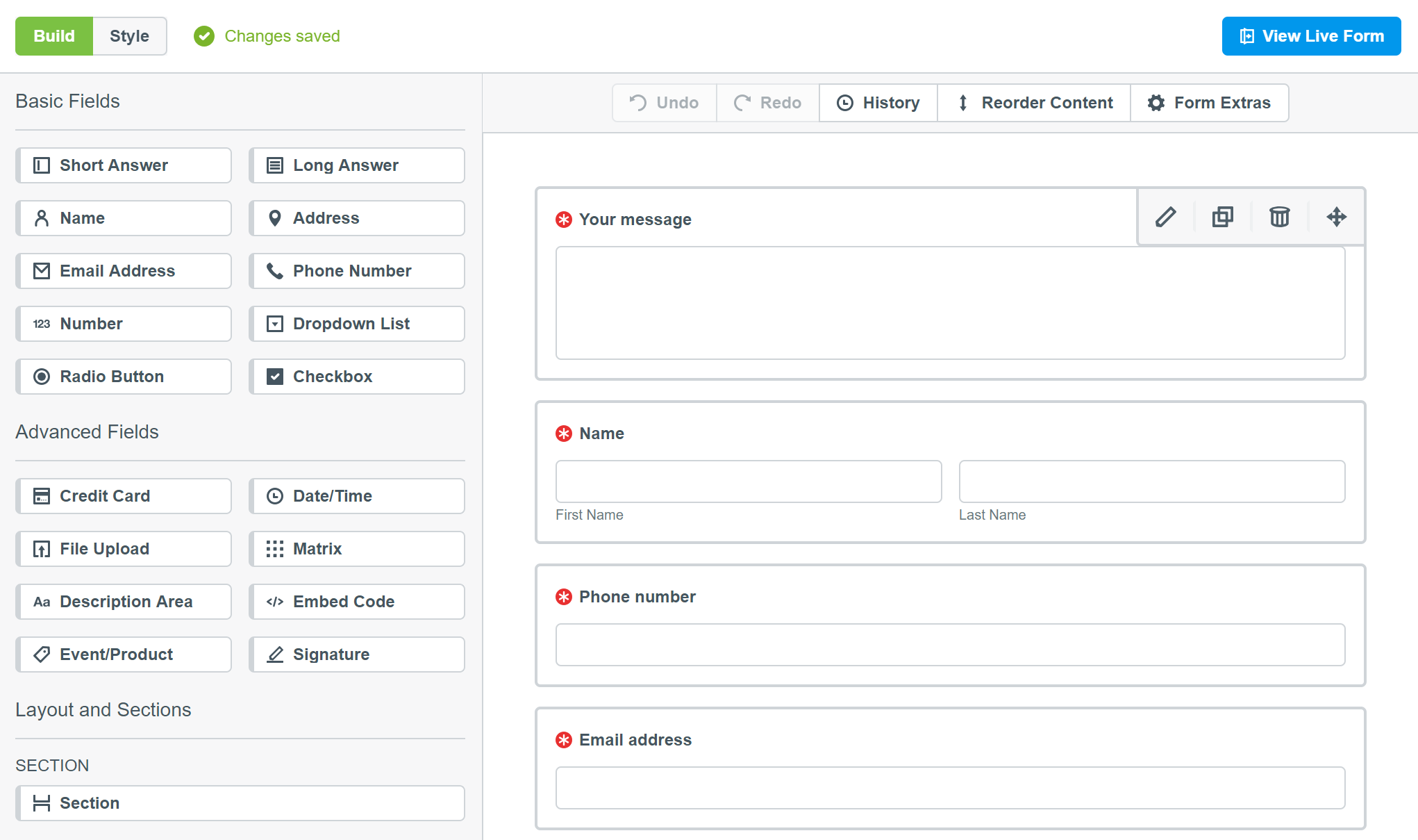 Formstack form builder screenshot