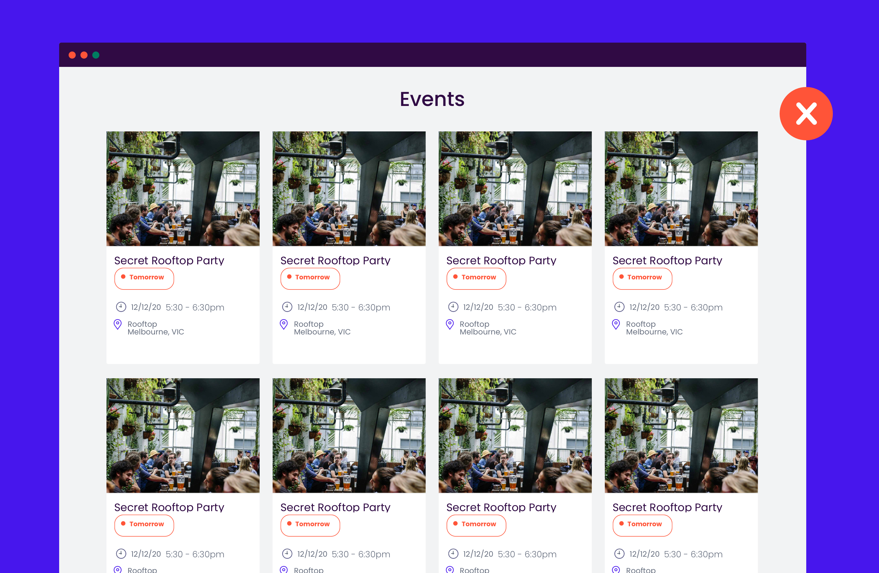 Event page without design QA