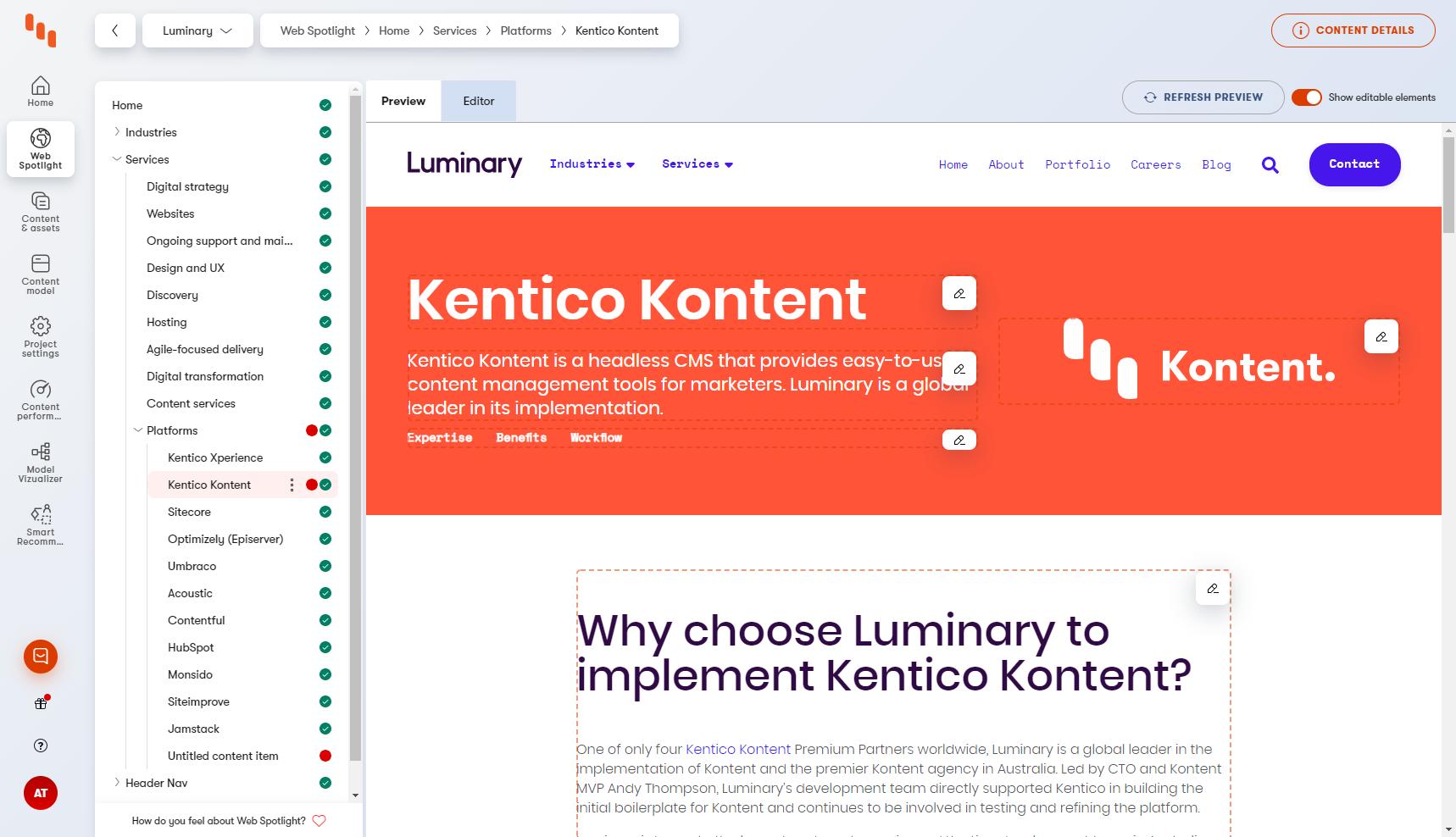 Kentico Kontent web spotlight interface