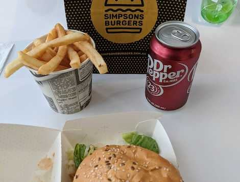 A Simpsons burger and chips