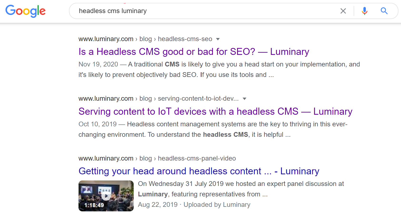 Google search of Headless CMS