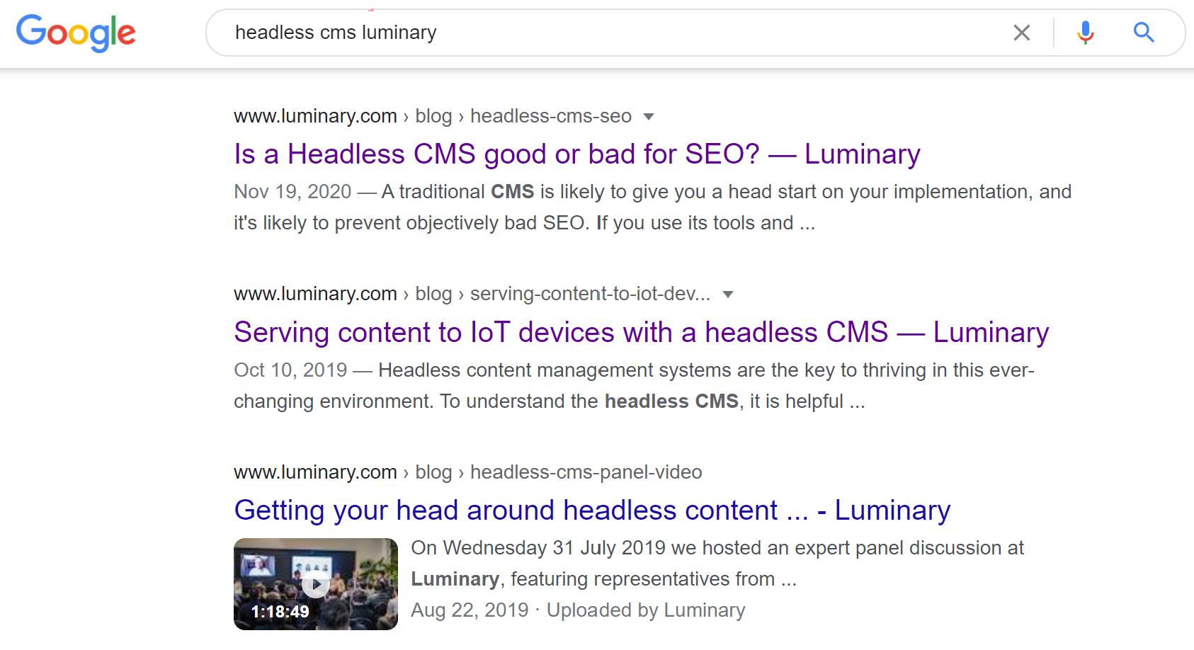 Google search of Headless CMS