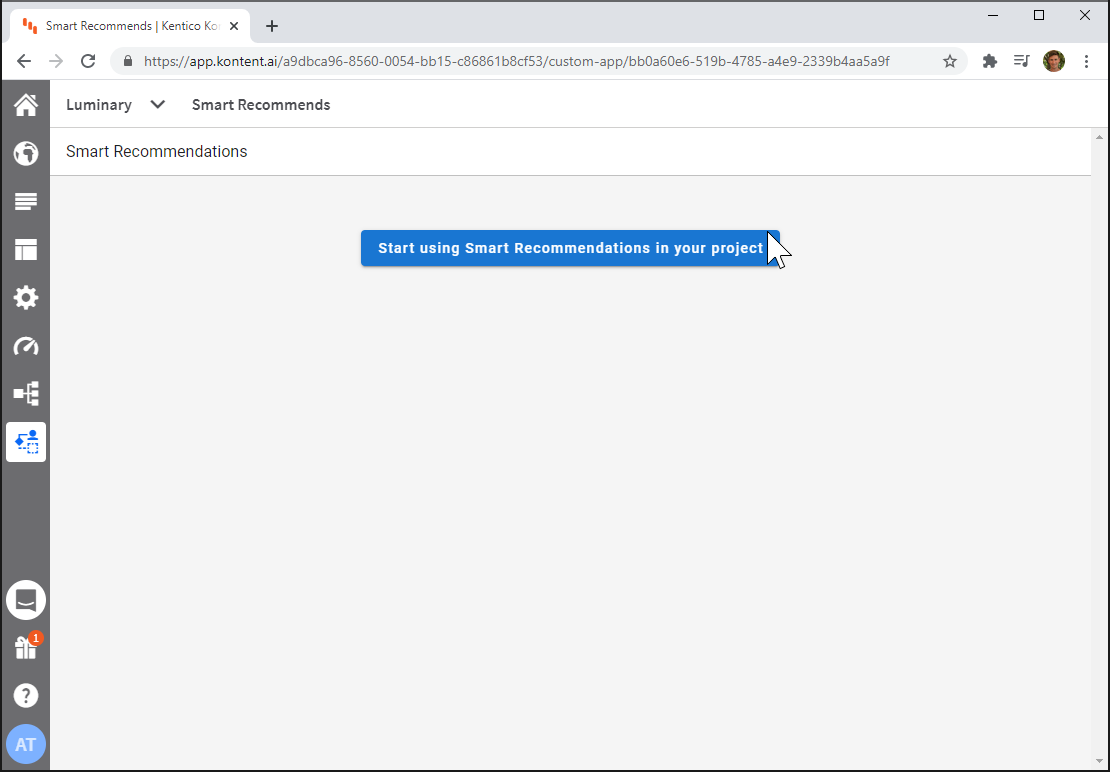 Kontent Smart Recommendations setup screen screenshot