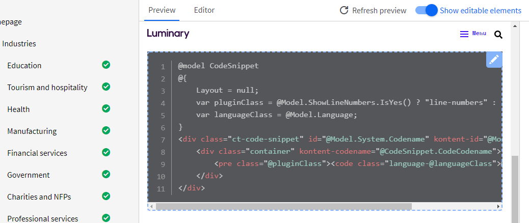 Kontent Smart Link SDK highlighting a code snippet component as editable