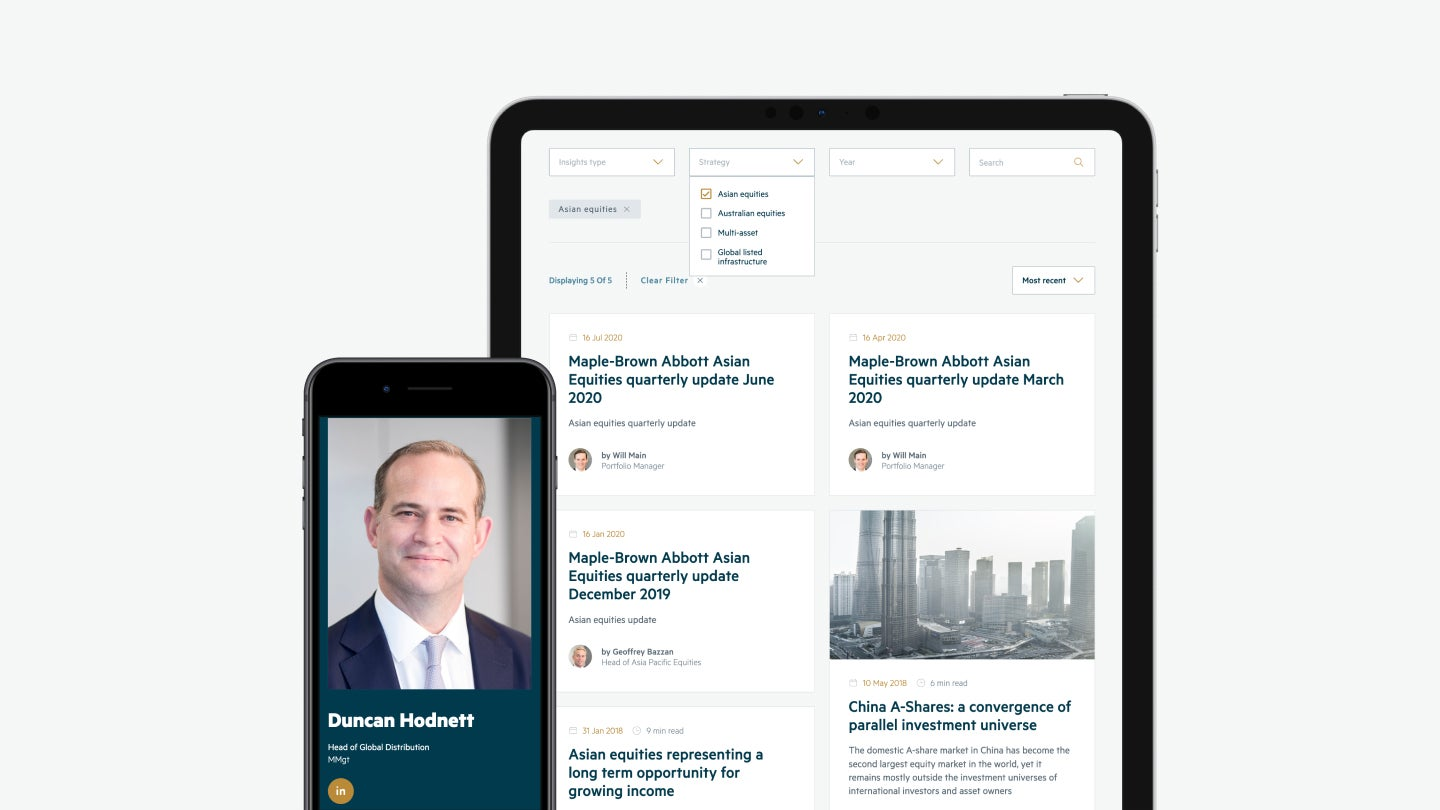 MBA website - people page on mobile