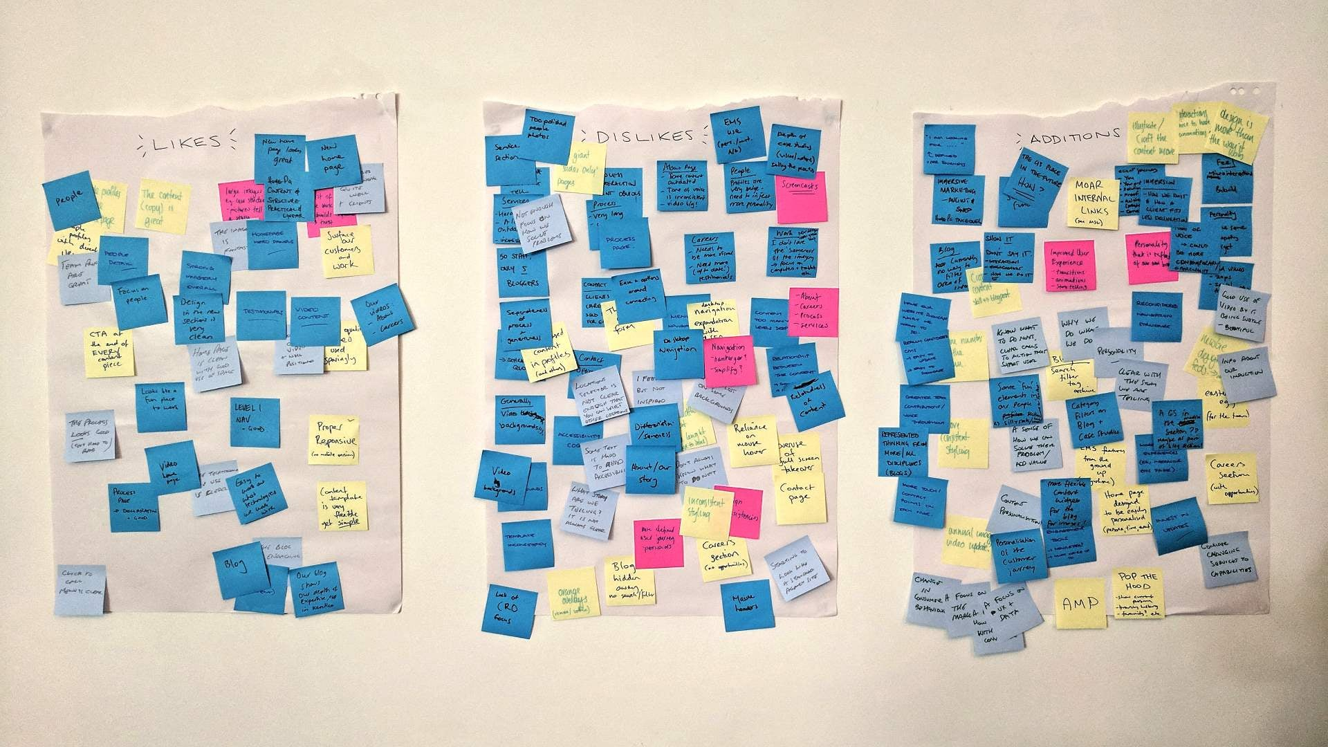 Post-it notes on a workshop wall