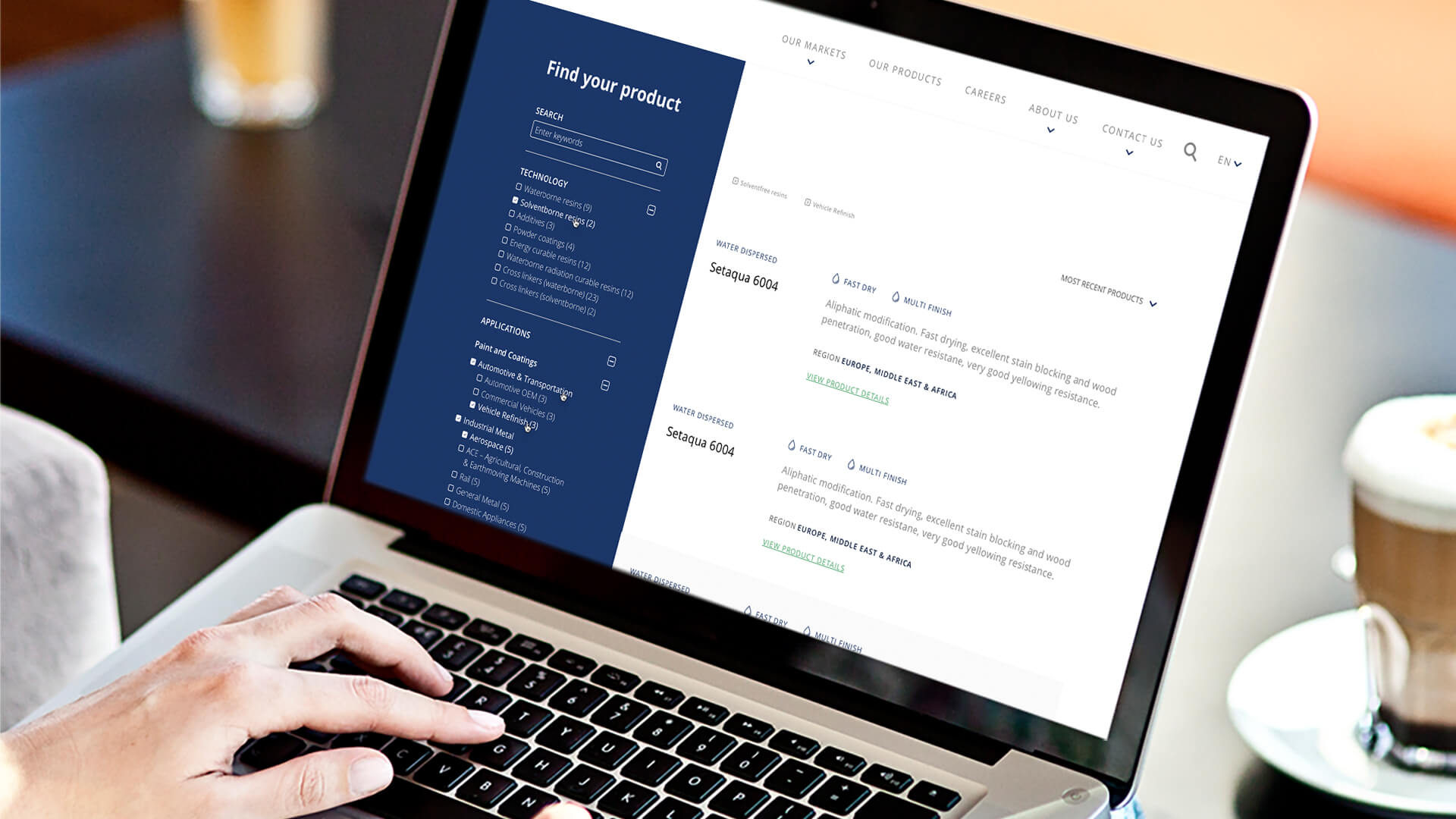Allnex website - Find your product screen