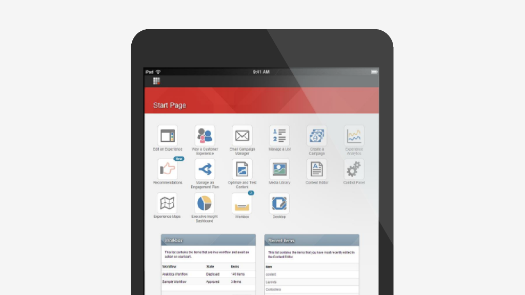 Sitecore desktop on tablet