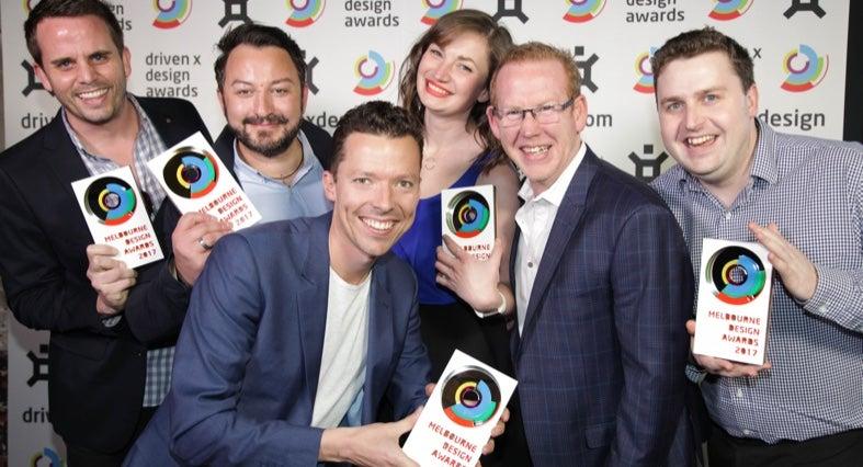 Team members receiving Melbourne Design Awards