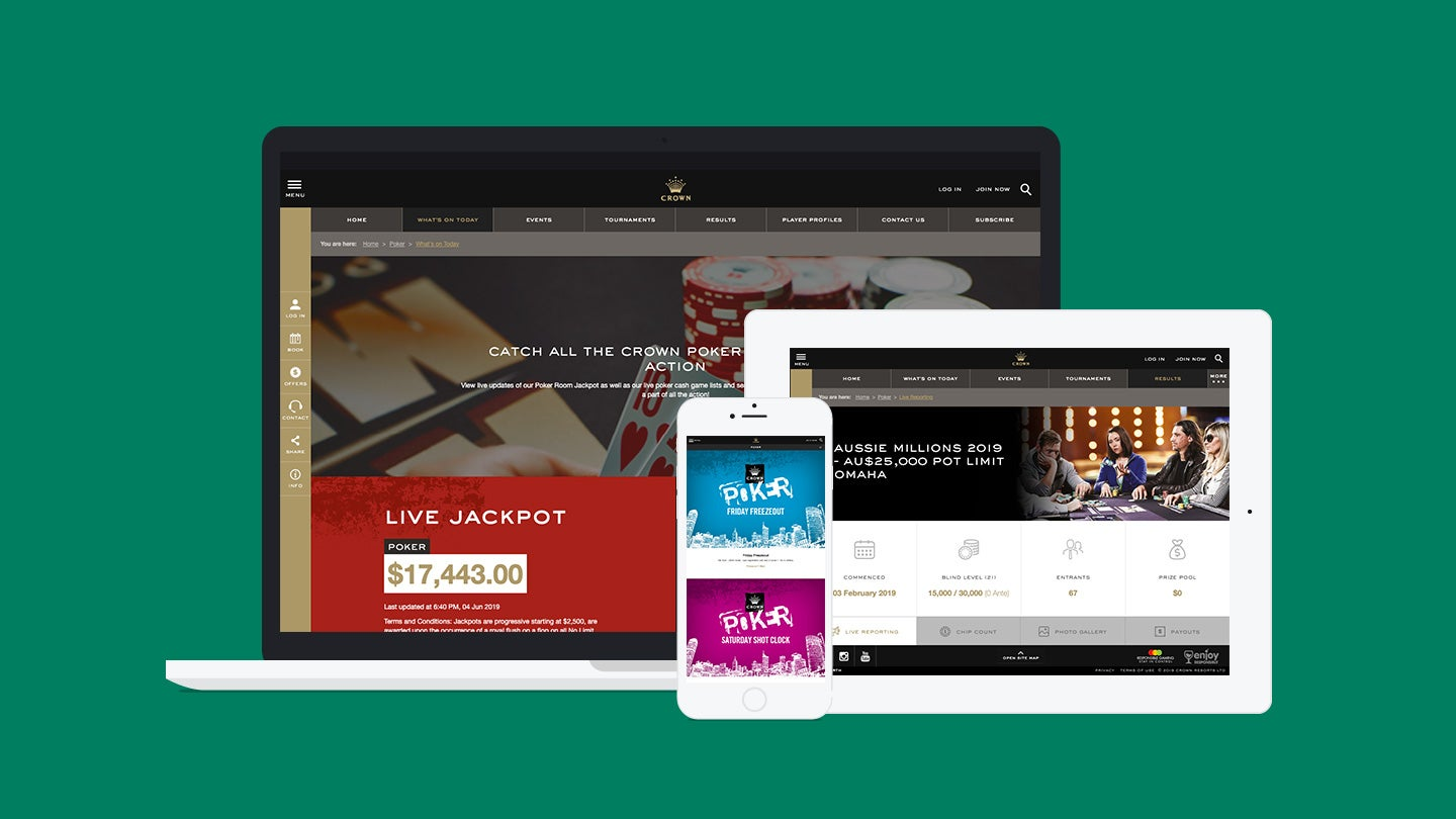 Crown Poker website on laptop, tablet and mobile