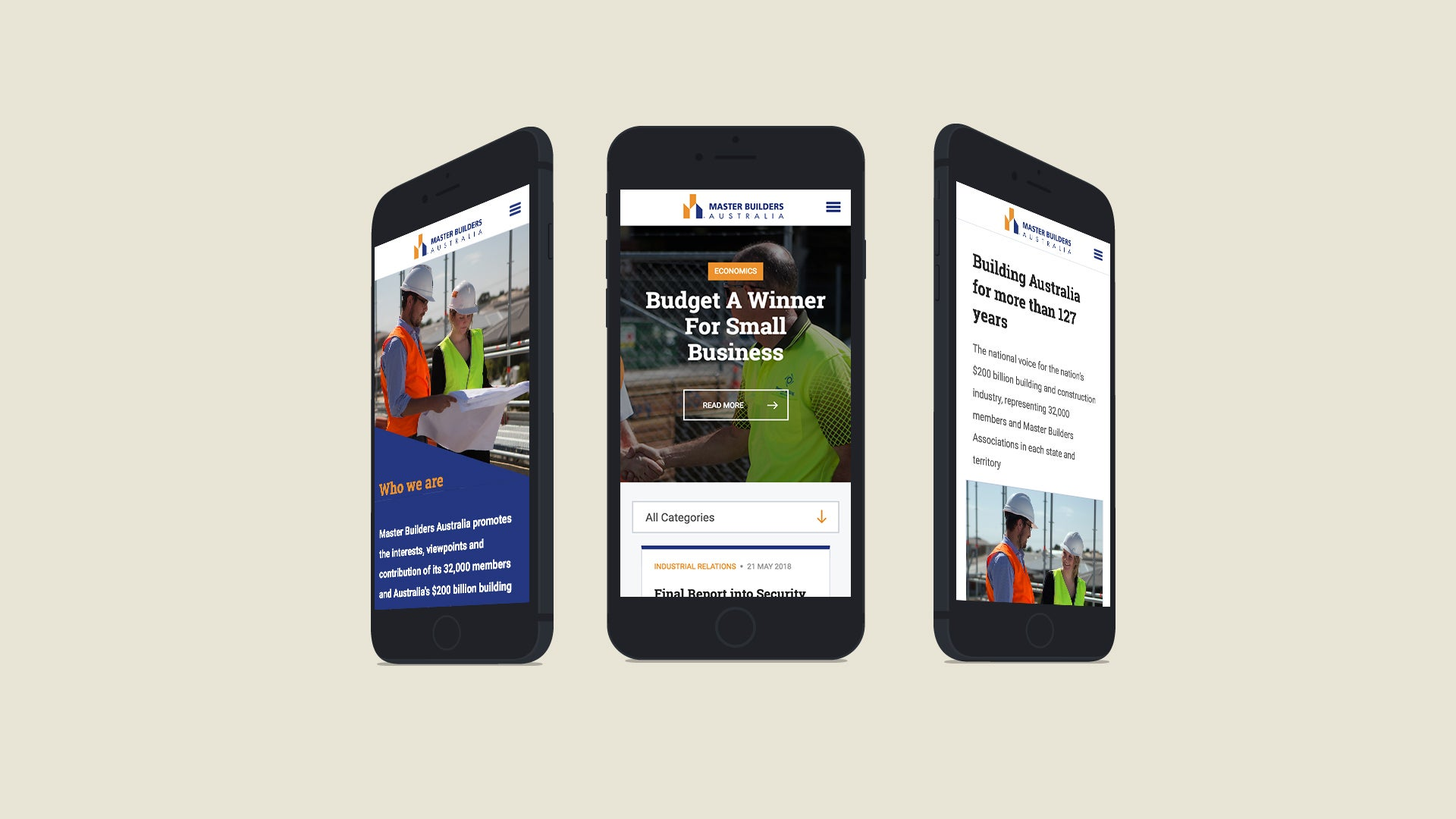 Master Builders website on a mobile device