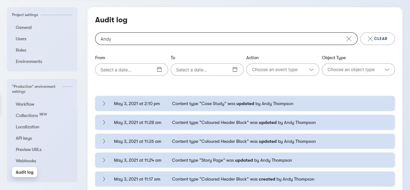 Screenshot of Kontent's Audit Log module