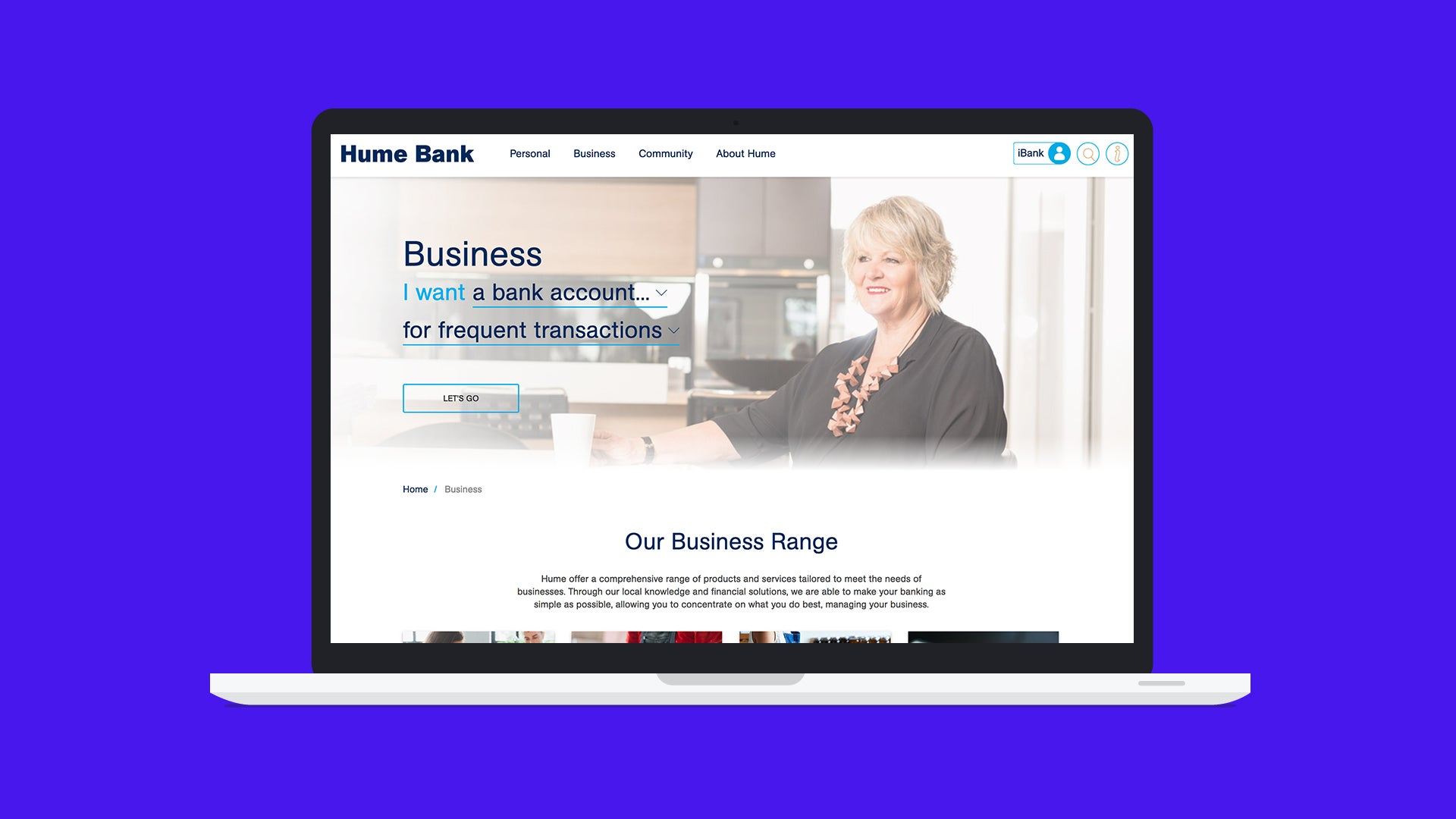 Hume Bank Home Page on a Laptop Device