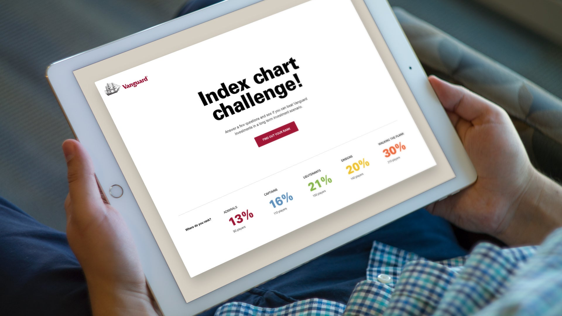 Vanguard-index-chart-challenge website on a tablet device