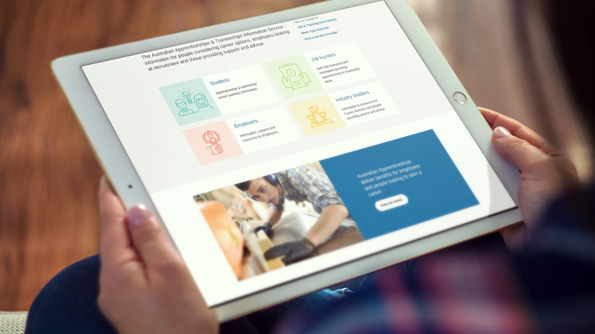 Australian Apprenticeship Pathways website on a tablet device