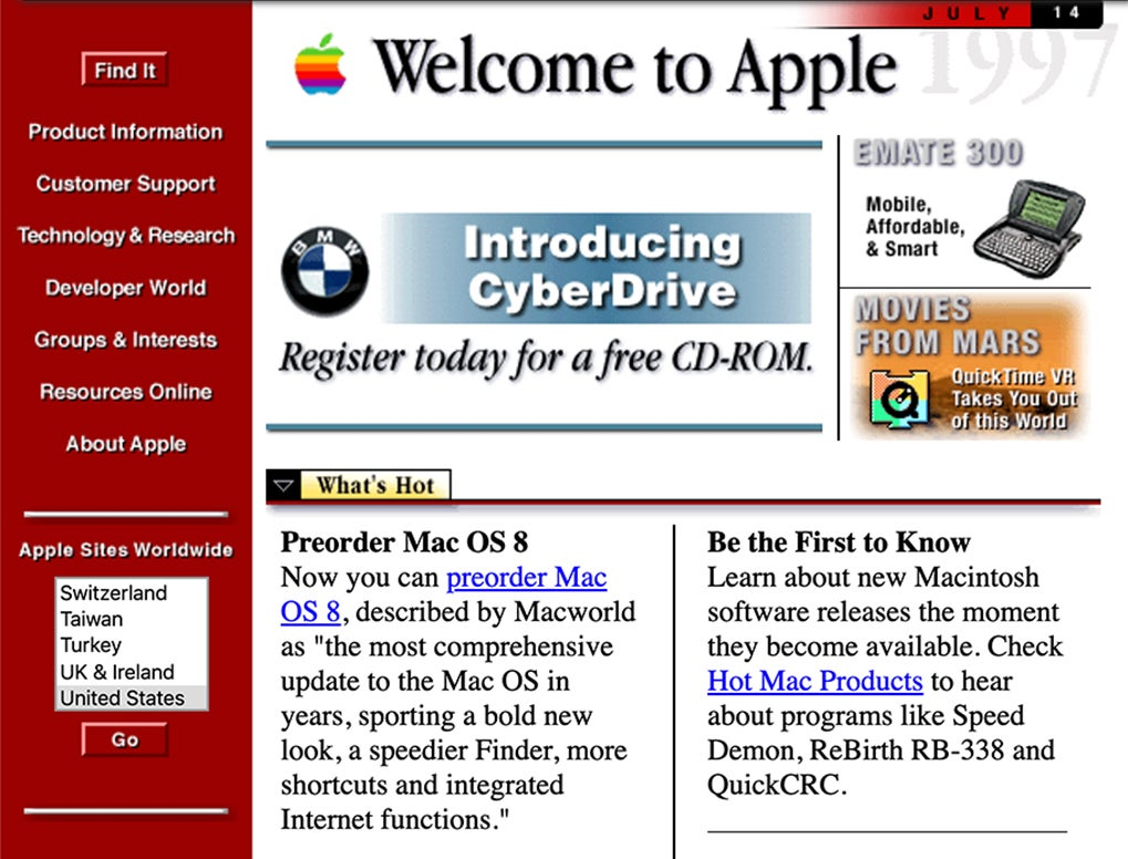 Apple website screenshot 1997
