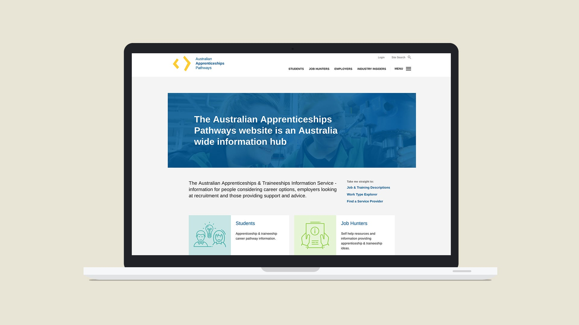 Australian Apprenticeship Pathways website on a laptop device
