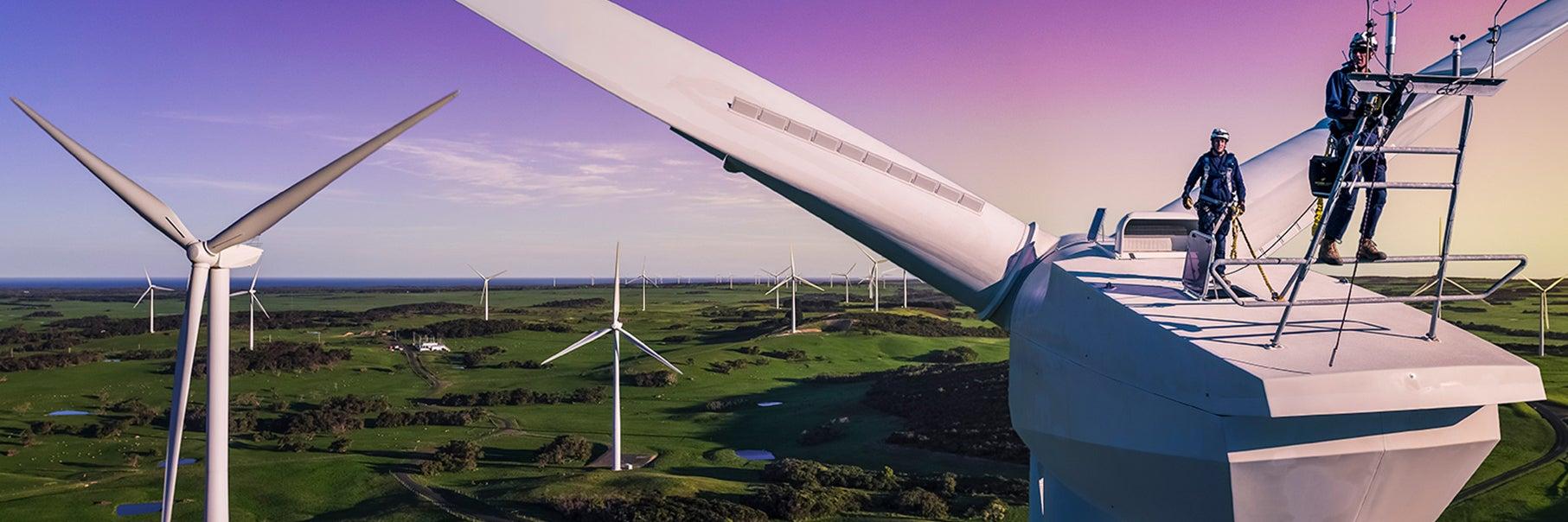 Two men standing on a renewable energy generator