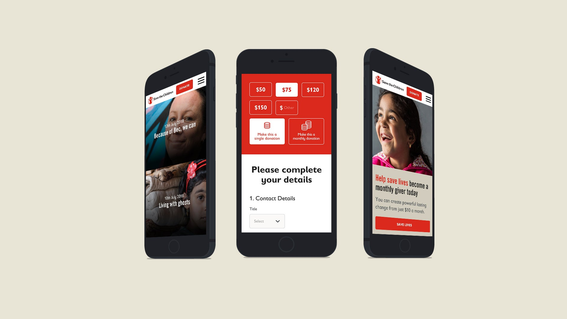 Save the Children website on mobile phones